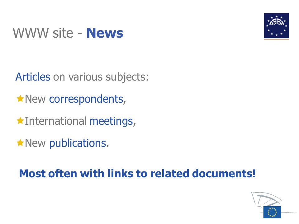 WWW site - News Articles on various subjects: New correspondents,
