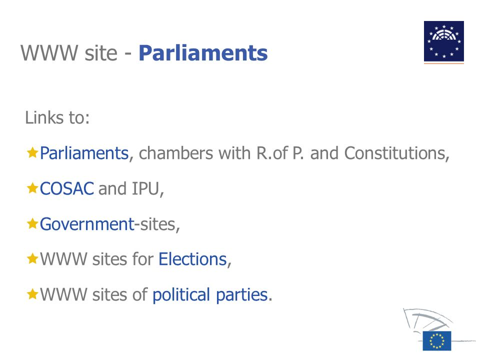 WWW site - Parliaments Links to: