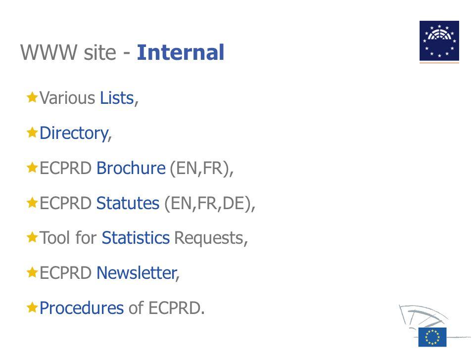 WWW site - Internal Various Lists, Directory, ECPRD Brochure (EN,FR),