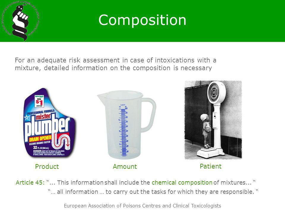Composition For an adequate risk assessment in case of intoxications with a mixture, detailed information on the composition is necessary.