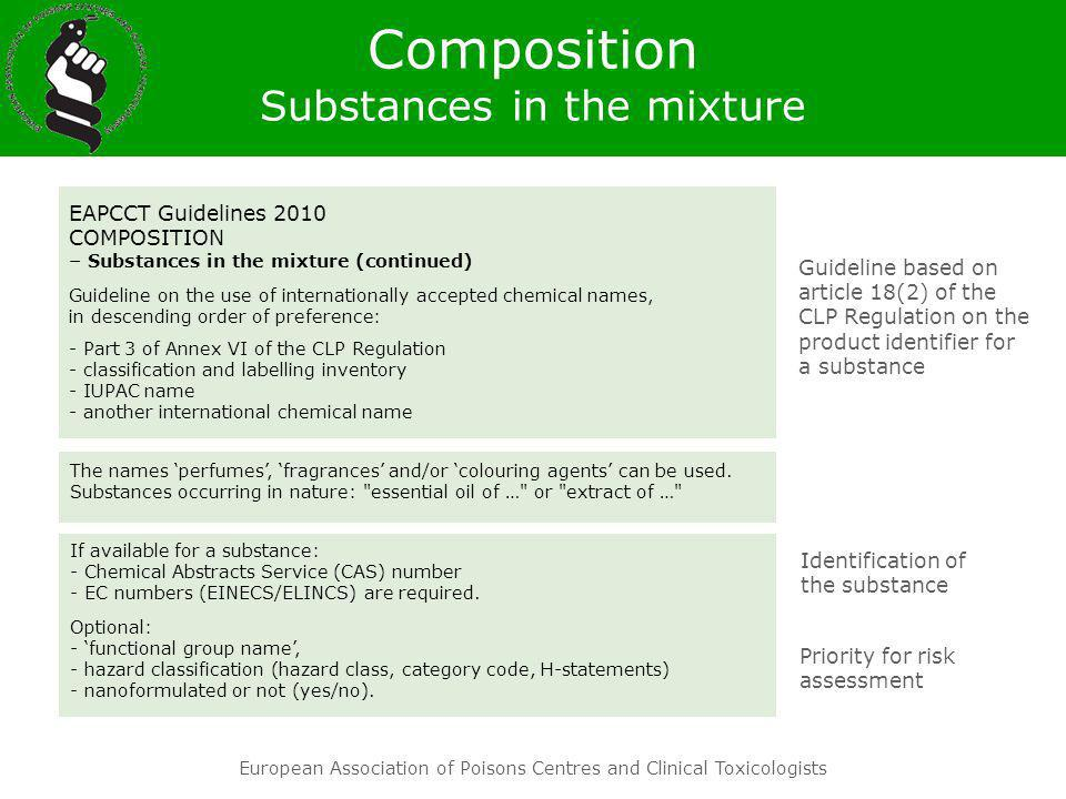 Composition Substances in the mixture