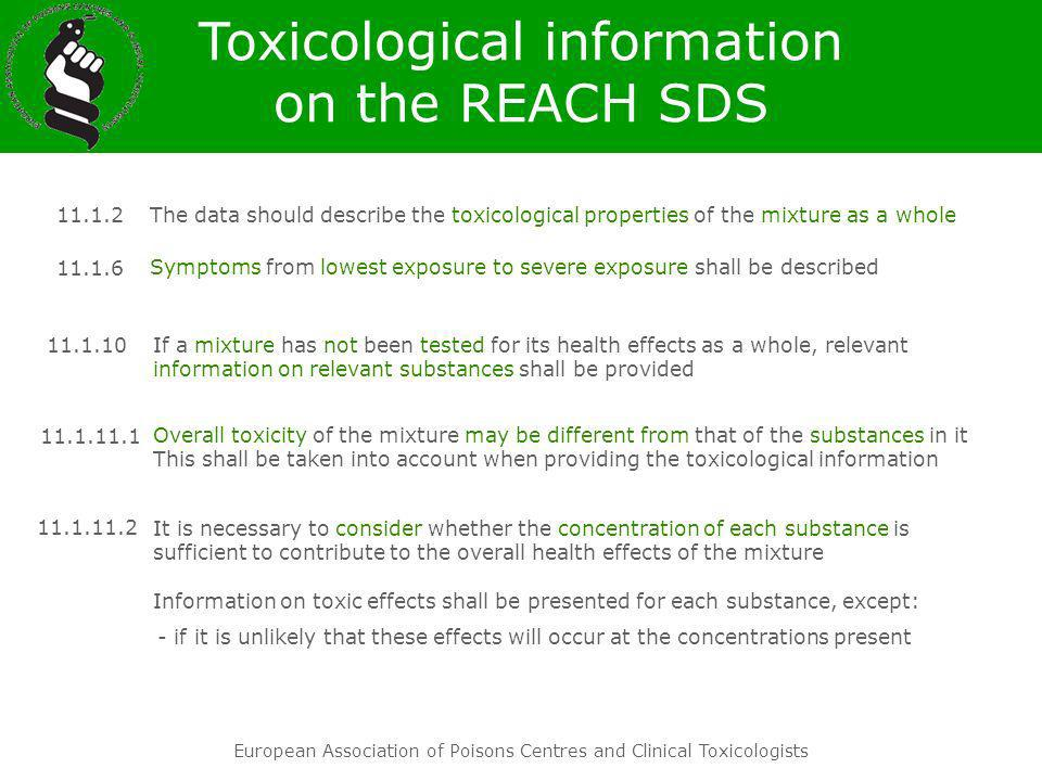 Toxicological information on the REACH SDS