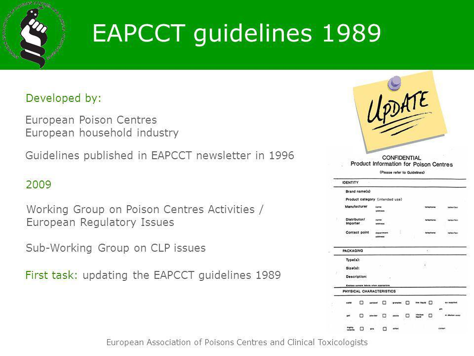 EAPCCT guidelines 1989 Developed by: