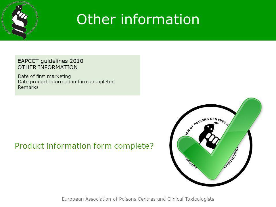 Other information Product information form complete