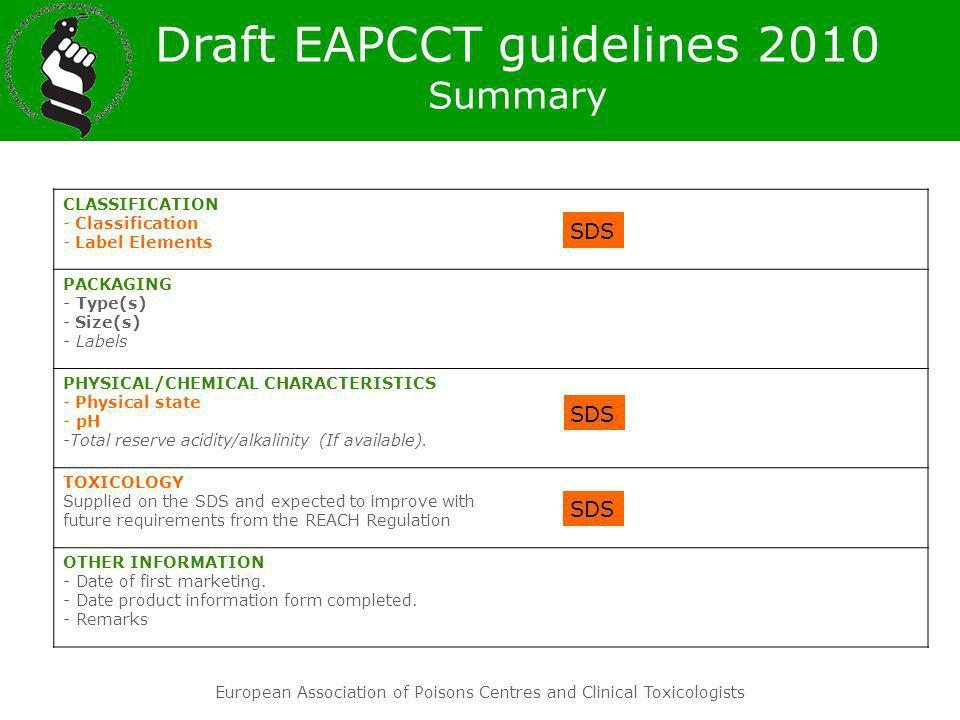Draft EAPCCT guidelines 2010 Summary