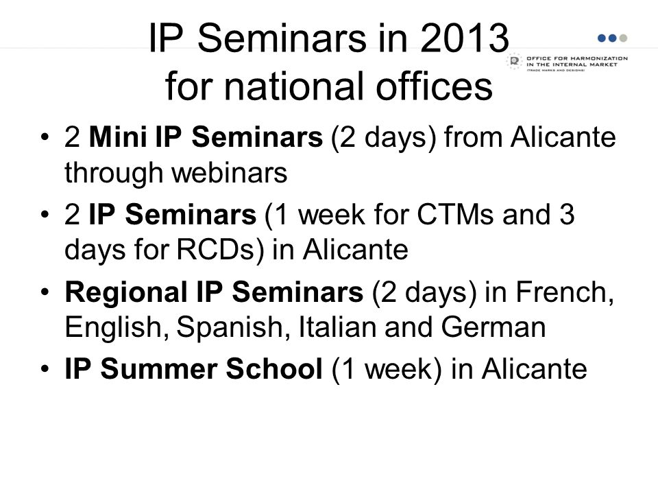 IP Seminars in 2013 for national offices