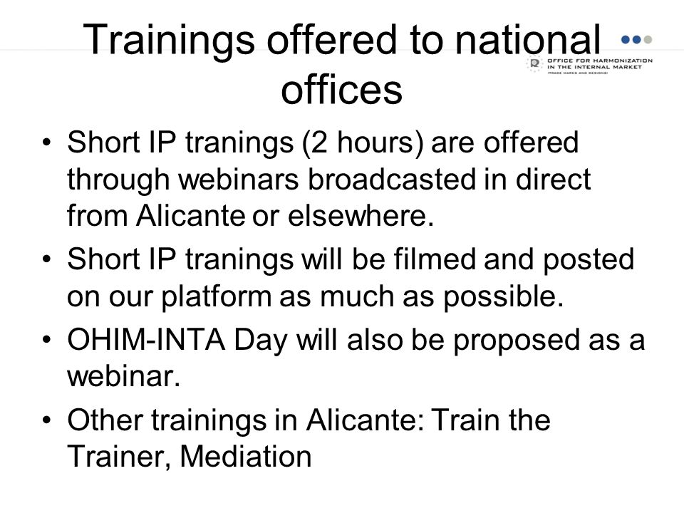 Trainings offered to national offices