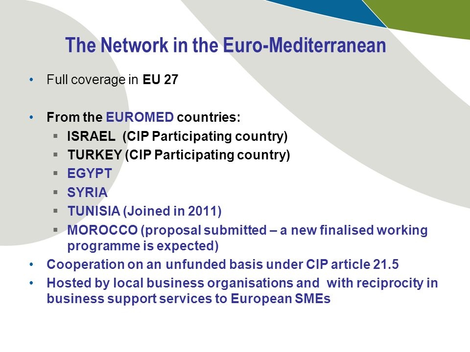 The Network in the Euro-Mediterranean