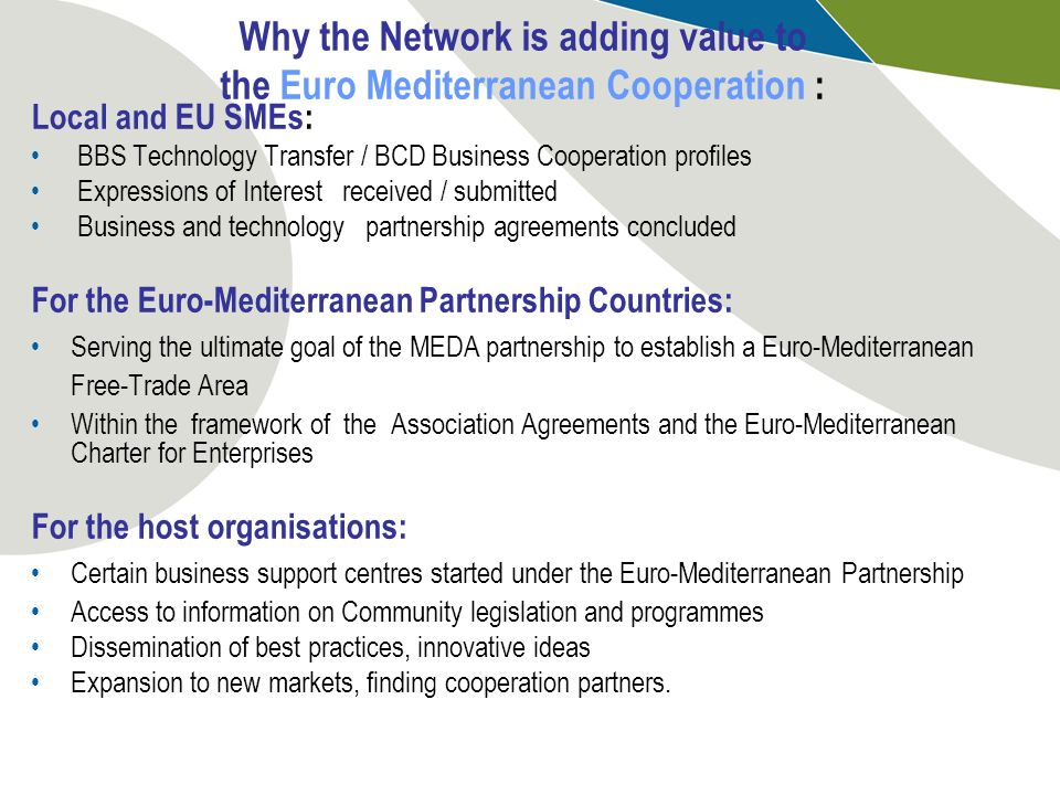 Why the Network is adding value to the Euro Mediterranean Cooperation :