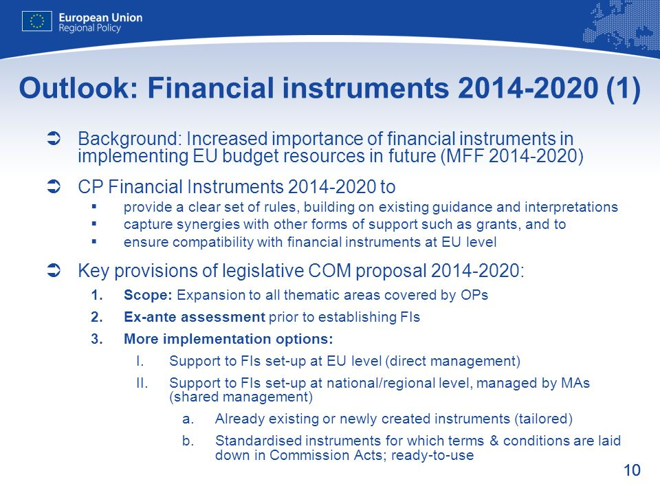 Outlook: Financial instruments (1)