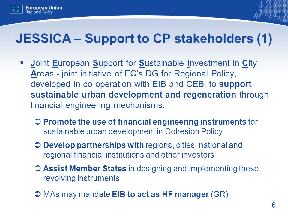 JESSICA – Support to CP stakeholders (1)