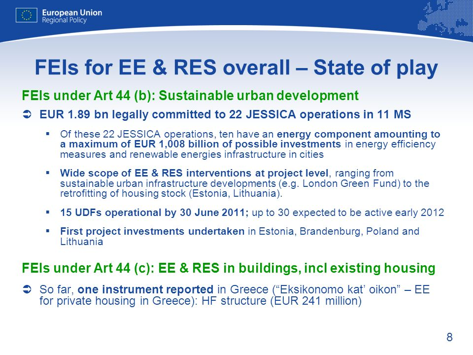 FEIs for EE & RES overall – State of play