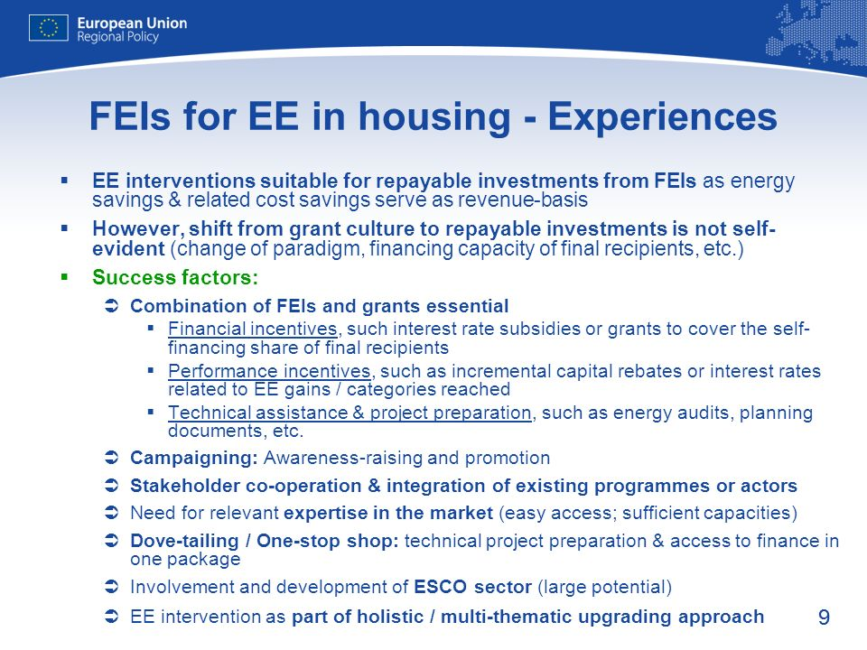 FEIs for EE in housing - Experiences
