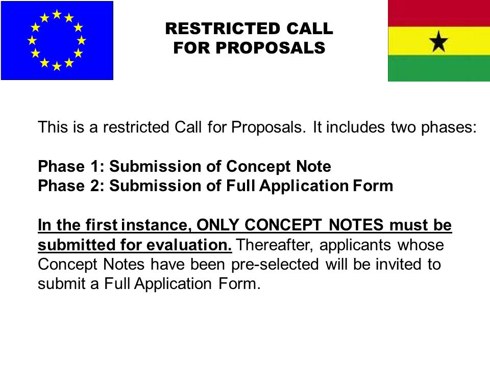 RESTRICTED CALL FOR PROPOSALS