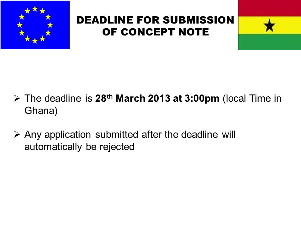 DEADLINE FOR SUBMISSION OF CONCEPT NOTE