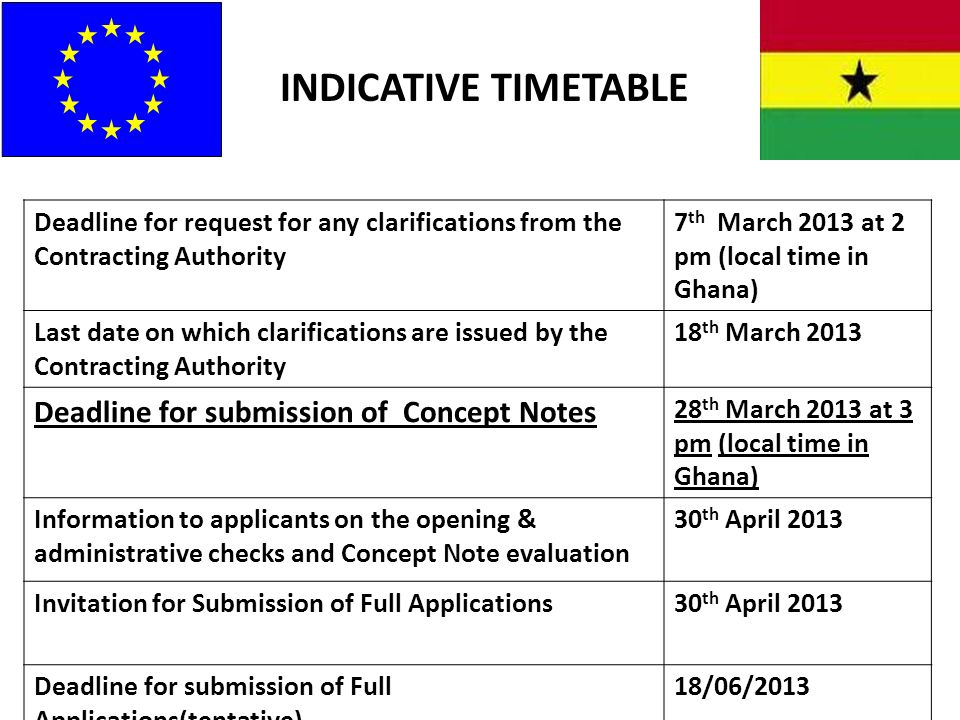 INDICATIVE TIMETABLE Deadline for submission of Concept Notes