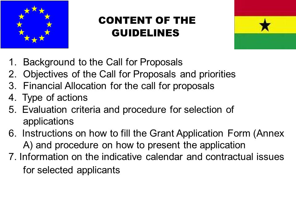 CONTENT OF THE GUIDELINES