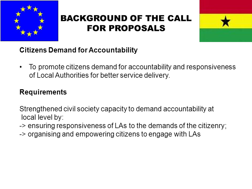 BACKGROUND OF THE CALL FOR PROPOSALS