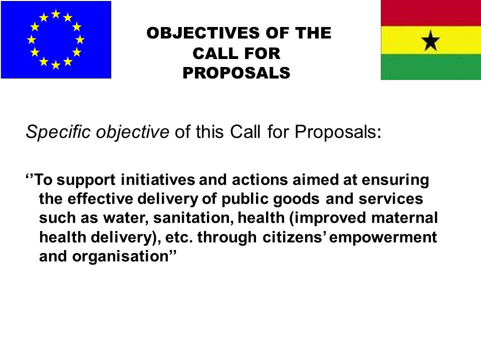 OBJECTIVES OF THE CALL FOR PROPOSALS