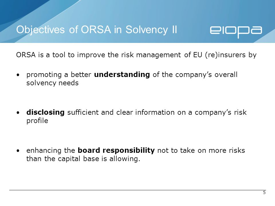 Objectives of ORSA in Solvency II