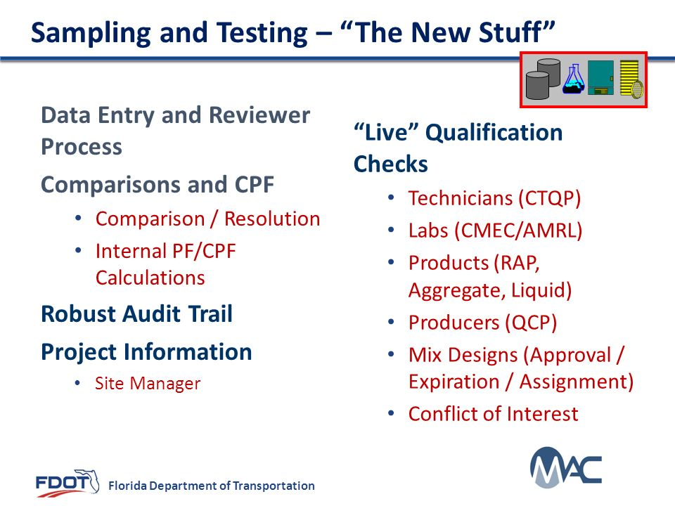 Sampling and Testing – The New Stuff