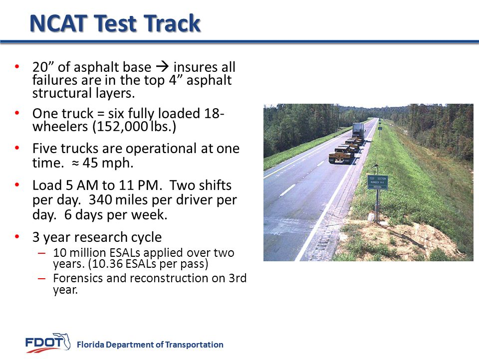 NCAT Test Track 20 of asphalt base  insures all failures are in the top 4 asphalt structural layers.
