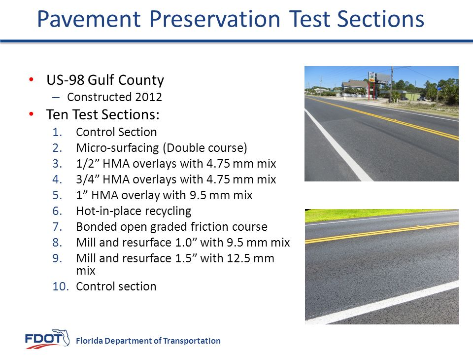 Pavement Preservation Test Sections