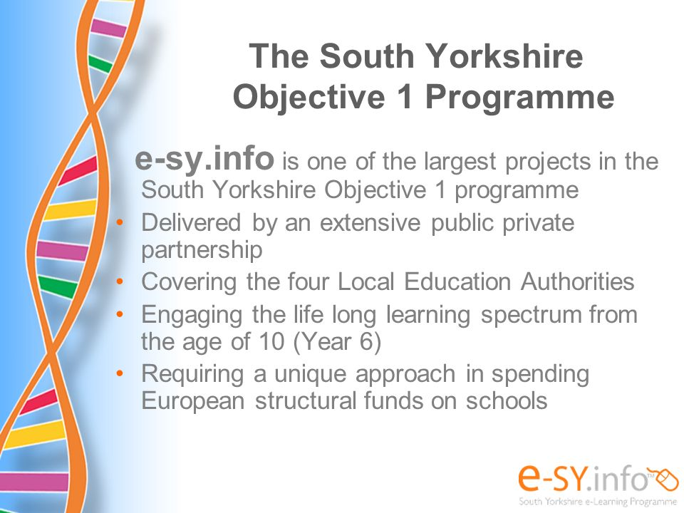 The South Yorkshire Objective 1 Programme
