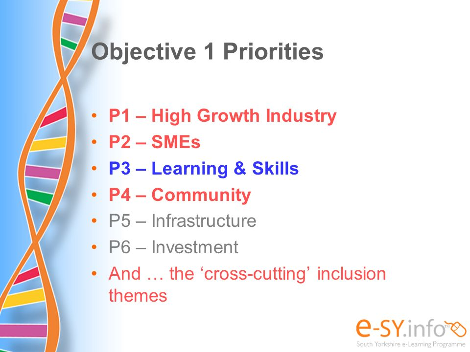 Objective 1 Priorities P1 – High Growth Industry P2 – SMEs