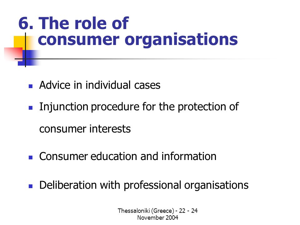 6. The role of consumer organisations