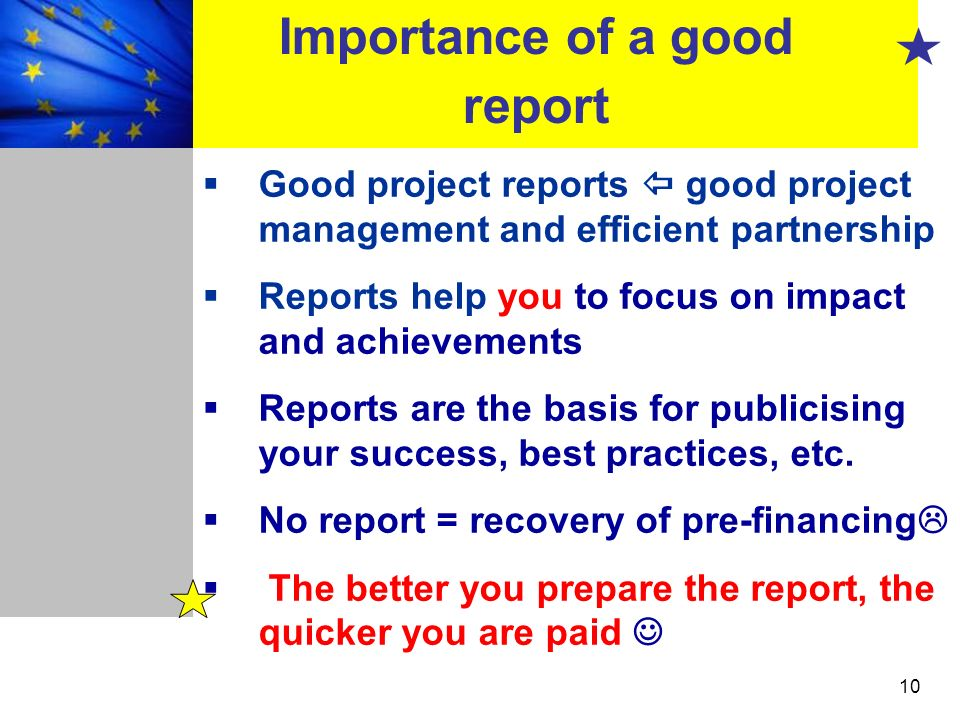 Importance of a good report