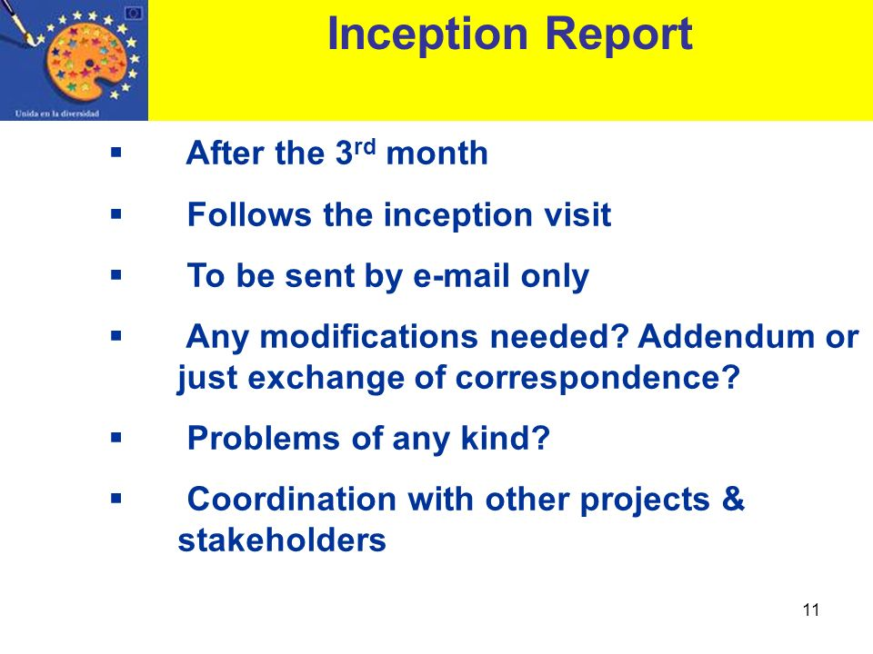 Inception Report After the 3rd month Follows the inception visit