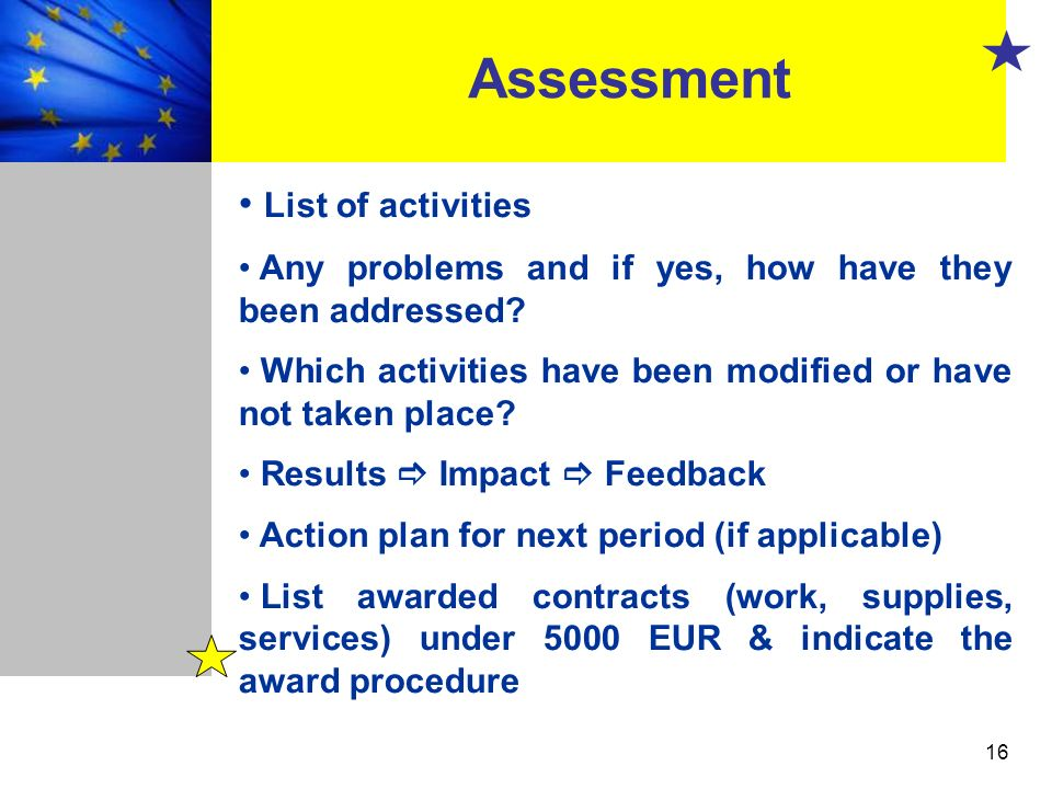 Assessment List of activities