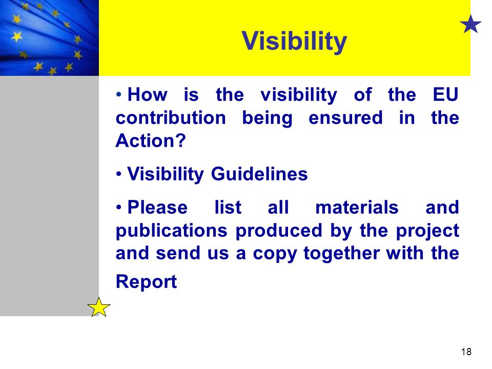 Visibility How is the visibility of the EU contribution being ensured in the Action Visibility Guidelines.
