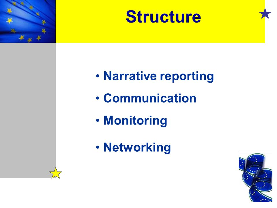 Structure Narrative reporting Communication Monitoring Networking