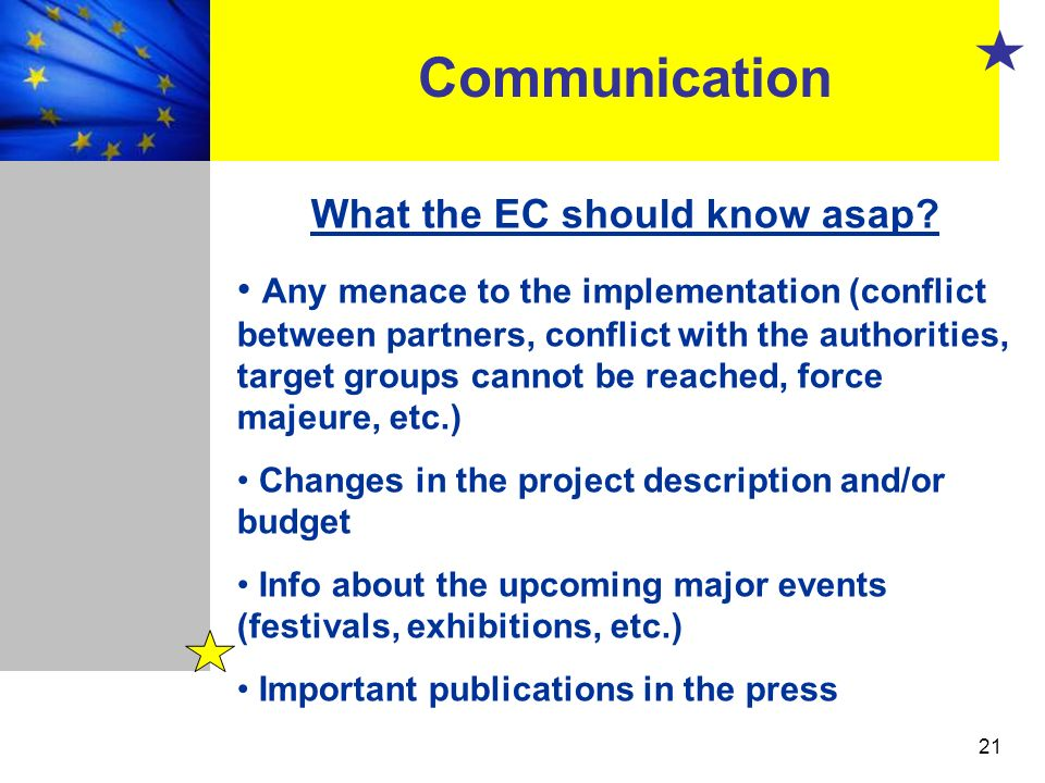 What the EC should know asap