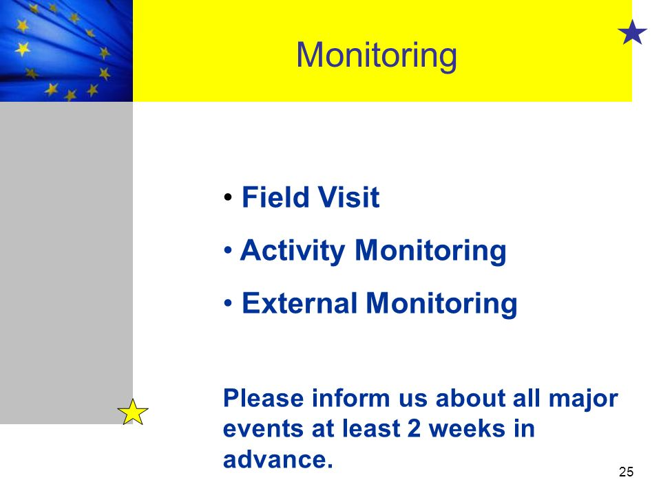 Monitoring Field Visit Activity Monitoring External Monitoring