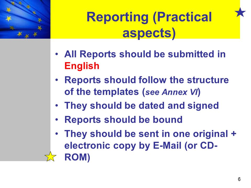 Reporting (Practical aspects)