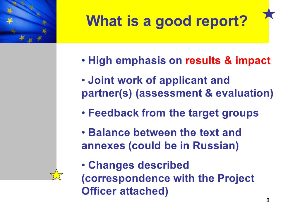 What is a good report High emphasis on results & impact