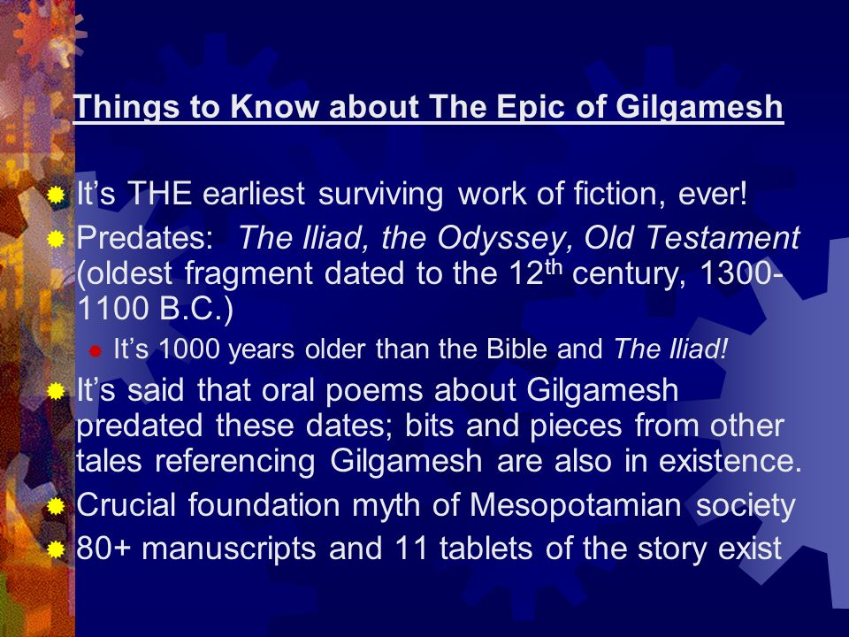 Epic gilgamesh vs iliad