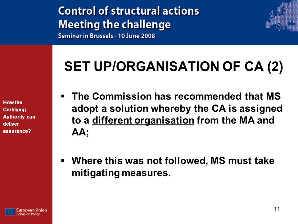 SET UP/ORGANISATION OF CA (2)