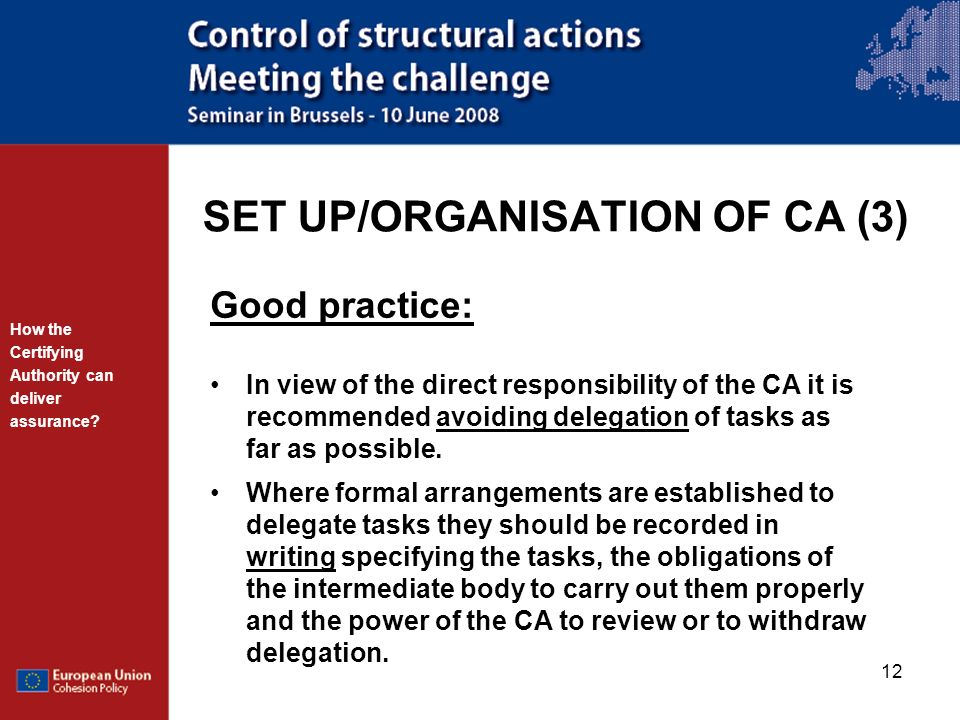 SET UP/ORGANISATION OF CA (3)