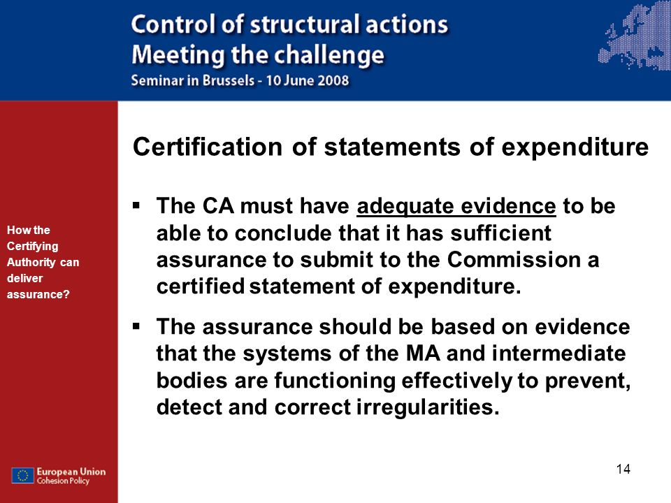 Certification of statements of expenditure