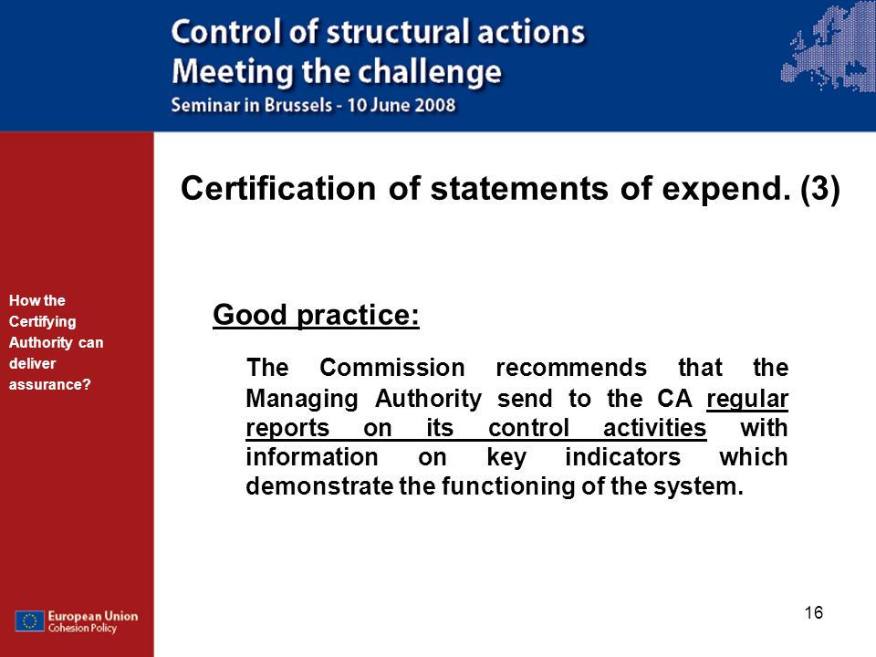 Certification of statements of expend. (3)