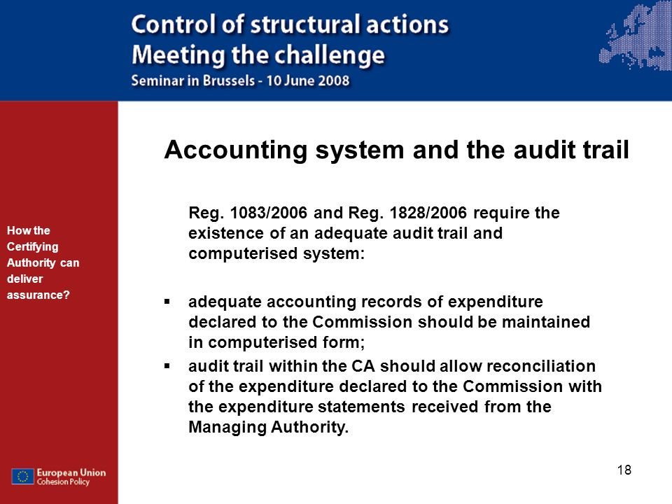 Accounting system and the audit trail