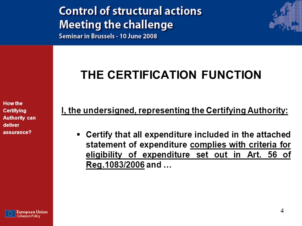 THE CERTIFICATION FUNCTION