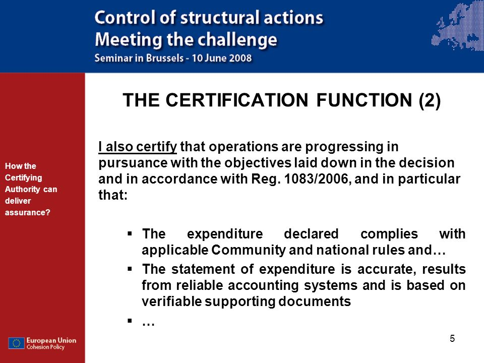THE CERTIFICATION FUNCTION (2)