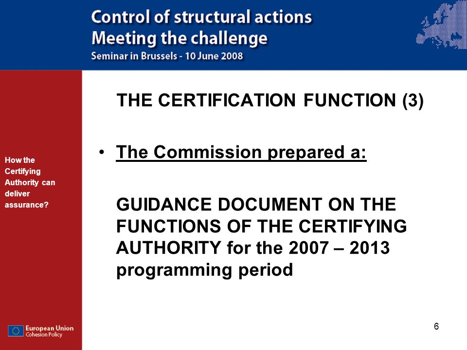 THE CERTIFICATION FUNCTION (3)