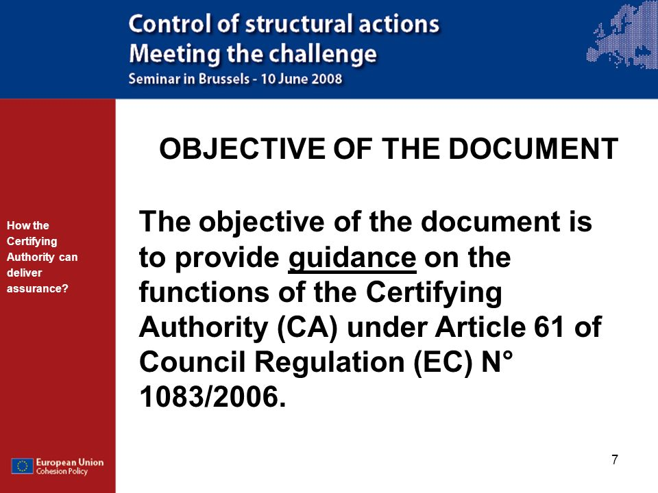 OBJECTIVE OF THE DOCUMENT