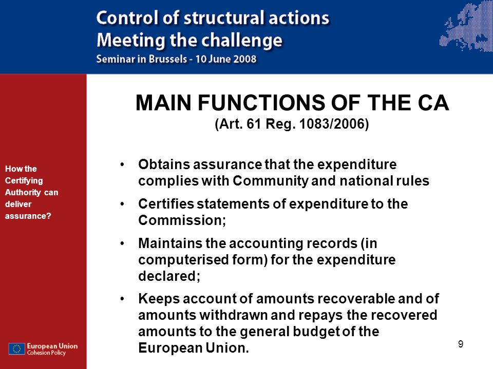 MAIN FUNCTIONS OF THE CA (Art. 61 Reg. 1083/2006)